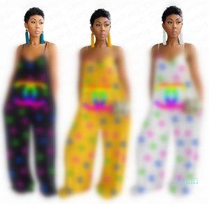 Kadınlar Jumpsuit Mektupları Baskılı Yaz Kolsuz Onesies Romper Moda Gevşek Pantolon Geniş Bacak Pantolon Siyam Pantolon Parti Giyim E41309