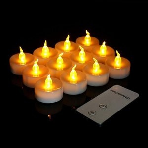 12pcs Remote controlled battery operated LED candle w controller flickering flameless votive tealight lamp Wedding Birthday Xmas Y200531