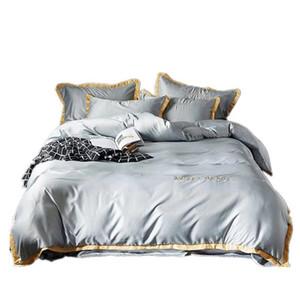 유럽 스타일의 실크 자수면 침대 커버를 세척면 간단한 린넨 이불 침구 침대 리넨 이불 베개의 4 개 세트