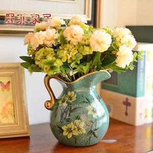 Murphy Keramik Jarrones Decorativos Moderno Floret Flasche Kunst Wohnzimmer Dekorationssimulation Blumenkunstanzug Trockene Blumen