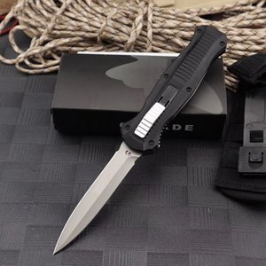 새로운 벤치 메이드 BM 3300 더블 액션 접이식 자동 칼 D2 블레이드 알루미늄 핸들 야외 주머니 자동 전술 생존 칼 BM 3310 C81