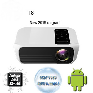 T8 Nuevo proyector LED 4500 lúmenes 1920 * 1080 Home Theater Full HD 1080P Amlogic S905 2G 16G Android 7.1 Proyector Beame