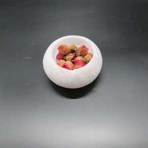 8 * 4 centímetros Natural selenito Círculo Tea Candle Holder Energia infundido Reiki cura de cristal Crafts a decoração Home presente