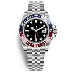 Лучшие мужские часы автоматические механические часы GMT нержавеющая сталь синий красный керамический Сапфир юбилейный 40 мм мужские часы Наручные часы