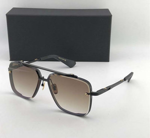 매트 블랙 121 개 스퀘어 선글라스 브라운 그라데이션 렌즈 태양 안경 남성 선글라스 차양 새로운 상자