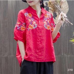 Ethno-Stil Stickerei künstlerisch lose große Frauen-Mid-Hülse T-Shirt 2020 nach oben nach oben Nationalität Stickerei Nationalität