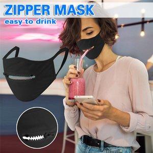 Persönlichkeit Mode Gesichtsmaske Reißverschluss-Entwurf Waschbar Wiederverwendbare Schutzmasken staubdicht atmungsaktiv Radfahren Maske DHL-freies Verschiffen