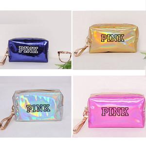 Storage Case Donne Moda Cosmetic Bag rosa laser sacchetto di trucco Zipper compongono borsa dell'organizzatore Sacchetti toilette Wash Box Beauty