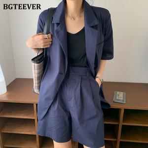 BGTEEVER Lin Coton Casual Pantalon Femmes Costumes Ensemble 2 pièces Boutons double à manches courtes Blazer taille haute desserrées Shorts 2020