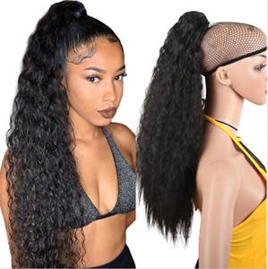 Larga maíz rizado cola de caballo piezas de pelo sintético cinta cordón clip ondulado en la cola de pony extensiones de cabello Piezas de pelo falso