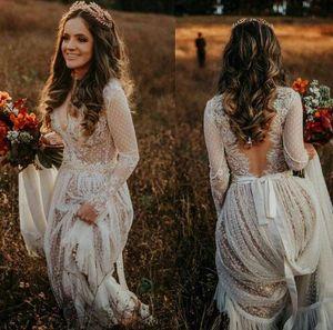 Свадебные платья 2020 см. Через A-Line без спинки с длинным рукавом Богемная страна Свадебные платья Кружева тюль Beach Robes de Mariee