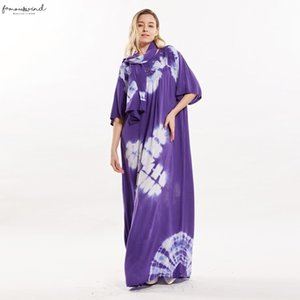 Plus Size Cotton Diamonds Floral Maxi Stunning Elegant African Ladies Evening Long Dress With Scarf