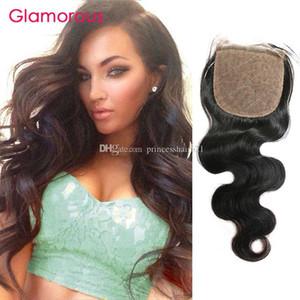 Glamorous corpo onda brasiliana dei capelli bassa di seta Chiusura Dimensioni 4x4 capelli umani del Virgin Chiusure malesi indiano capelli lisci libero Parte Chiusure