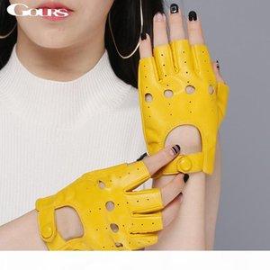 Spring Women's Genuine Leather Gloves Driving Unlined Goatskin Half Finger Gloves Fingerless Gym Fitness fashion women gloves