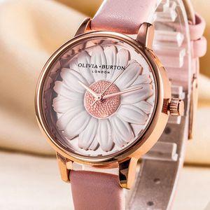 Luxury Fashion Olivia Bouton 3D effect Big Dial Daisy Quartz Womens Watch Leather Strap New Lady Desinger Chrysanthemum Watches