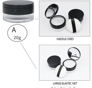 DHL Free Loose Powder Jar with Sifter and Powder puff Cosmetic Plastic Loose Powder Case Packaging Container 3g 5g 15g 20g