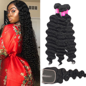 9A Brazilian Virgin Hair Loose Deep Bundles With Lace Closure 100% Unprocessed Straight Body Loose Wave Deep Curly Water Wave Human Hair
