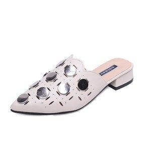 Baotou meia chinelos femininos 2019 nova moda primavera e verão desgaste plana apontou sapatos único sapatos Europa
