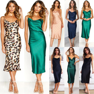 2019 New Hot Female Ladies Sexy Leopard Printed Dress Woman Spaghetti Strap V 넥 새틴 Vestidos
