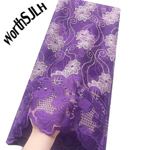 Puple African Lace Fabric 2020 High Quality Lace Tulle French Mesh Fabric Beaded Stones Nigerian Swiss Lace Fabrics For Dress