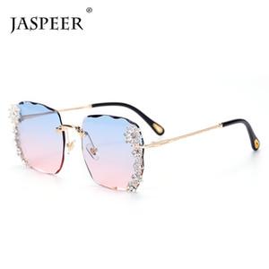 JASPEER Vintage Oversized sem aro dos óculos de sol Mulheres Diamante de luxo Sun Vidro Praça Gradiente Rhinestone Moda Óculos UV400