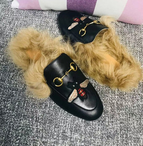 Hot Sale-women's fur slippers, cowboy shoes, shoes, designer leather, leather shoes, metal chains, women's casual wear.