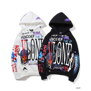 vlone big V 남성 디자이너 까마귀 스웨터 AF1 첸 안쪽 낙서 LA 제한의 공동 이름 X 탱 Yuanhao 후드 스웨터 코트 남성과 여성 커플