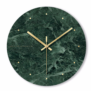 Marble Wall Clock Simple Decorative Creative Nordic Modern Marble Clock Wall for Living Room Kitchen Office Bedroom