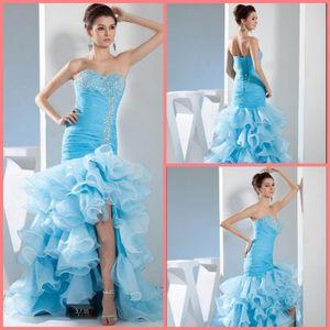 vestido de noiva2020 blue organza mermaid prom dress strapless beaded ruffles sweetheart neckline cheap prom party dresses with slit