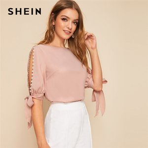 Shein Solid Perle perline laterale nodo Cuff camicetta elegante Donna Top 2019 Autunno mezza manica di base camicette per le giovani signore