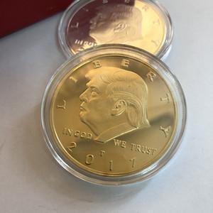 Donald Trump Trump Commemorative Coin président américain Avatar Pièces d'or Badge d'argent Collection Metal Craft Aigle Coin BH2108 TQQ