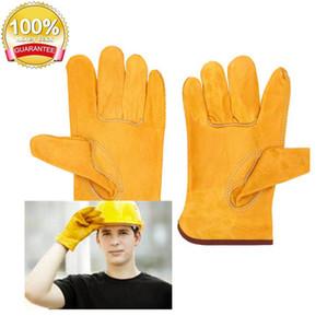 Guantes de Trabajo del lugar de trabajo de protección de seguridad de soldadura de cuero amarillo los colores Tamaño L manos de los trabajadores Protect emplazamiento de la obra out152
