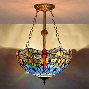 Amerikan mavi yusufçuk cam avize aydınlatma oturma odası yemek odası yatak odası asılı lamba Tiffany cam kolye lampsTF005 lekeli