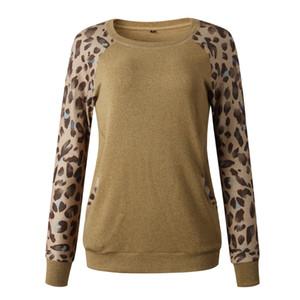 wt19 desgaste de inverno 2019 sexy Leopard Crewneck manga comprida de bolso Mulheres