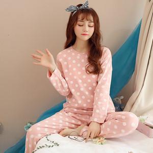 WAVMIT donne belle di usura di svago dei vestiti di personalità 2018 Autunno a maniche lunghe donna Pigiama Pajamas Set biancheria da notte