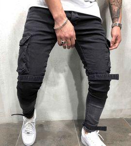 Erkekler Motosiklet Hip hop Streetwear Swag Kot Pantolon için Skinny Biker Jeans Erkekler çok cepli Bandaj İnce Kargo Koşucular pantolon