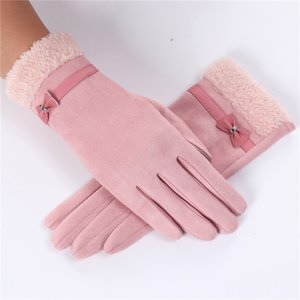 New Women Fashion Winter Solid Full Finger Hand Wrist Women Touch Screen Driving Gloves Outdoor Sport Warm Driving Faux Suede Gloves