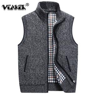 Chaleco de lana de invierno para hombre Chaleco sin mangas para hombre Chaleco de punto chaqueta 2018 Nuevo abrigo de lana caliente más el tamaño M-3XL