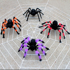 Siyah Büyük Örümcek Peluş Oyuncak Gerçekçi Tüylü Örümcek Cadılar Bayramı dekorasyon Parti Korkunç Dekorasyon Perili Ev Prop Kapalı Açık Yard Dekor