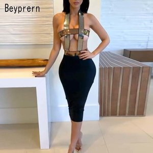 Beyprern Glam Sleeveless Cut Out Sequins Midi Dress Women Sexy Backless Bandage Party Night Out Dress Birthday Outfits Rave Wear T200707