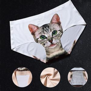 Ropa interior del minino bragas anti impresión Vaciado del gato de la impresión 3D mujeres Panty de las mujeres escritos atractivos inconsútiles de las mujeres de control niñas
