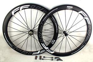 Углерода дорожный велосипед колеса 50 мм FFWD белая линия наклейки clincher трубчатые велоспорт велосипед колесная пара Базальт тормозная поверхность UD матовый Powerway R36 концентраторы