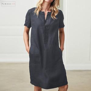 Плюс Размер льняная рубашка платья Celmia лето 2019 Мини-платье Урожай хлопка с коротким рукавом Платье Robe Femme Бич Sundress