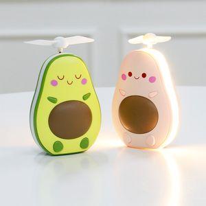 Neue Karikatur Spielzeug der Kinder Avocado Handventilator USB Aufhellblitz Schminkspiegel Miniventilator Lade dhl frei