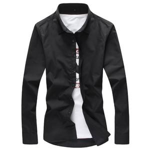 2017 de la manga para hombre primavera verano largas sólidas camisas negras para hombre de alta calidad ropa de verano