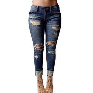 Sıcak Satış Kadın Juniors Sıkıntılı Slim Fit Sıkı Jeans Skinny Denim Capris Pantolon Ripped Broken Delikler Tasarım