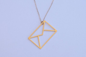 30pcs hollow Envelope pendant Necklace I love You Letter Minimal Everyday Necklace Letter Jewelry Origami Message Necklace jewelry