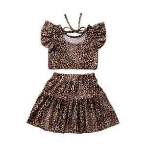 Summer Girls vestiti del leopardo di modo della stampa manica corta magliette delle parti superiori T Gonna insieme a due pezzi Outfits INS ragazze vestono i capretti che coprono CZ403