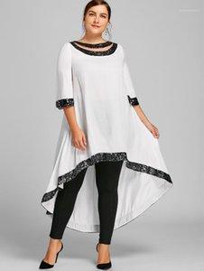 Womens Progettista di lusso da estate allentato Panelled manica corta paillettes vestito solido di colore femminile Abbigliamento plus