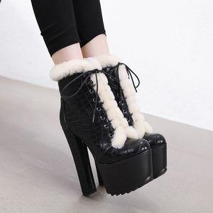 Sıcak Satış-2019 Kadınlar Bilek Kürk Boots 16cm Yüksek Topuklar Fetiş Striptizci Keçe Sıcak Kar Peluş Boots 7cm Platformu Blok Topuk Chunky Ayakkabı